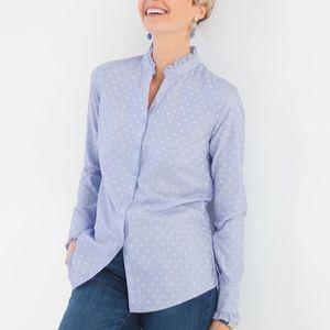 Chico's | Blue Ruffled Polka Dot No-Iron Shirt